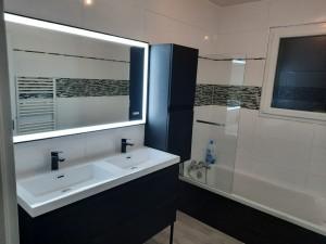 Photo de galerie - Réalisation entière de la salle de bain(carrelage, plomberie, meuble...)